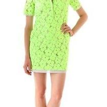 Nwt 398 Diane Von Furstenberg Warner Flower Lace Dress in Honeydew Green Sz 4 Photo