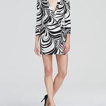 Nwt 398 Dvf Diane Von Furstenberg Celeste Marble Wave Black White Wrap Romper 0 Photo