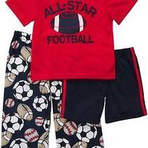 Nwt  3pc  Set Carters  Boys Pajamas  New  Football All-Star 18m  28 Photo