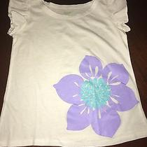 Nwt 3t Garnet Hill White Graphic Top W/ Flutter Sleeves Big Stunning Bloom 28 Photo