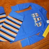 Nwt 4 Baby Gap Kids Logo Snug Fit Long Sleeve Shirt & Striped Pants Pajamas Set Photo