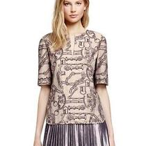 Nwt 425 Tory Burch Paulina Fossil Bridle Print Top Blouse Tunic - 8 (M Medium) Photo