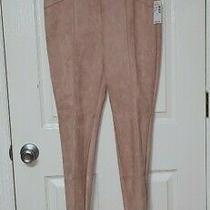 Nwt 45 Roz & Ali Sz S Blush Pink Faux Suede Leggings Photo