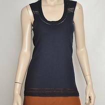 Nwt 450 Zac Posen Pointelle Knit Cotton Blend Ribbed Top Tank Ocean Blue M Photo