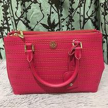 Nwt 475 Tory Burch Robinson Perf Mini Double Zip Tote Poppy Coral/carnation Red Photo