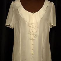 Nwt 48.00 Fossil 100% Silk Ivory Ruffled Button Tailored Blouse Size Large Photo