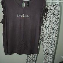 Nwt 48  Womens 3x  Bebe  Signature 2 Piece Pajamas Sleepwear Lounge Set T-35 Photo