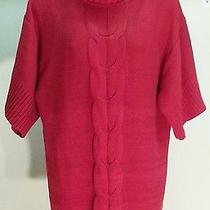 Nwt 49 style&co. Women's Red Solid Short Sleeve Turtleneck Sweater Size L Photo