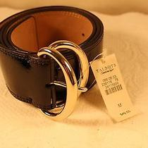 Nwt 49 Talbots Black Leather  Wide Belt Silver Buckle Size M Photo