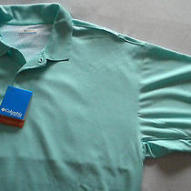 Nwt 50 Men's Columbia Pfg Omni Wick/shade Upf 30 Vented Polo Shirt Aqua Xl Photo
