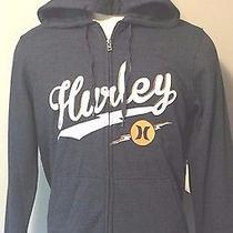 Nwt 55 Hurley Men's Hoodie Sweatshirt Full Zip Bolted Heather Navy Dark Grey L Photo