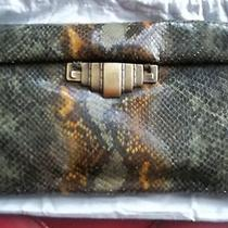 Nwt 560 Stuart Weitzman Textured Clutch in Painted Calfskin Leather  Photo