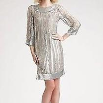 Nwt 585 Candela Bianca Silver Sequined Sequin Dress - Size 6 Photo