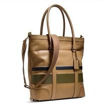 Nwt 598 Men's Bleecker Debossed Painted Stripe Tote Messenger Sand Eclipse Photo