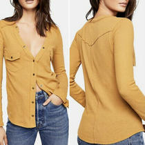 Nwt 68 Free People We the Free Starlight Henley Snap Front Top Mustard M Medium Photo