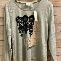 Nwt 69 Zenergy by Chico's Size 2 L Gray Blush Black Lace & Foil L/s Tee Top Photo