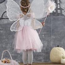 Nwt 7-8 Pottery Barn Blush Fairy Dress Halloween Costume Headband Wand Wings Photo
