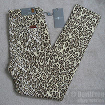 Nwt 7 for All Mankind Girls the Skinny Second Skin Legging Jeans Size 14 Cheetah Photo
