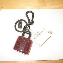 Nwt75 Coach Jumbo Sprinkle C Resin Padlock Keychain Ring Charm 63874  Burgundy Photo