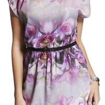 Nwt 80 Express Purple Belted Cold Shoulder Floral Dress Size Xs Spring Sexy Photo