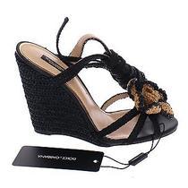 Nwt 800 Dolce & Gabbana Black Beige Floral Leather Wedges Shoes Eu37 / us6.5 Photo
