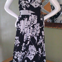 Nwt 88 Express Floral Black/white Chiffon Halter Maxi Dress Size Xs Htf Look Photo