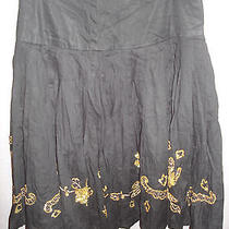 Nwt 88 Grace Elements Black / Gold Sequin Skirt Womens 14 Photo