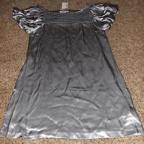 Nwt88 Kensie Gray Silk Dresspuffy Slvboat Collarfront & Back Pleated Bustsz8 Photo