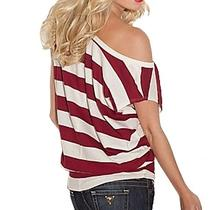 Nwt 89 Guess Julia Top Striped T-Shirt Loose Tee White Red Sz Xs 0 1 Photo