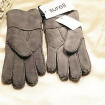 Nwt 89 Surell 100% Suede Sheepskin Winter Gray Cuff Gloves Photo