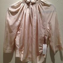 Nwt 895 Nina Ricci Blush Pink Silk Ruffle Neck Blouse Sz 40(6) Photo