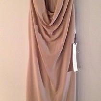 Nwt 895 Yigal Azrouel Matte Crepe Leather Trim Dress in Shell Color Sz4 Photo