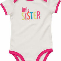 Nwt 9 Mon Carters Bodysuit Little Sister Baby Girl White Pink Photo