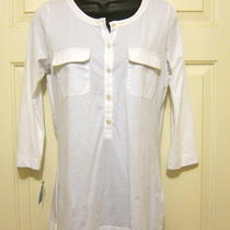 Nwt 95 Theory White Long Top M 3/4 Sleeve Chest Pockets Button Placket Spandex Photo