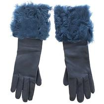 Nwt 960 Dolce & Gabbana Gloves Blue Lambskin Leather Fur Logo Wrist S. 8 / M Photo