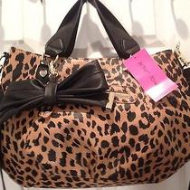 Nwt98 Betsey Johnson Cheetah Bow Satchel Handbad Purse Photo