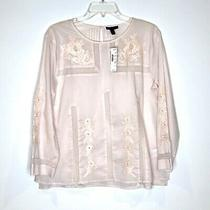 Nwt 98 Jcrew Cotton Embroidered Lace Blouse Top Light Blush Pink Size 8 Photo