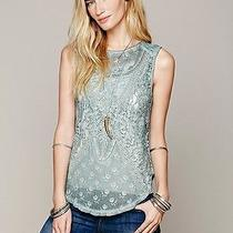 Nwt 98 Not So Sweet Victorian Top Free People Slate Green Lace Embroidered Xs Photo