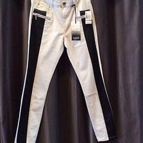 Nwt 98 Size 29 Kensie Black-Ivory Twill Pleather Trim Skinny Leg Pants Bottoms Photo