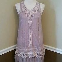 Nwt 99 Modcloth Genuinely Genteel Slip Dress M Mauve Blush Mesh Ryu Romantic Photo