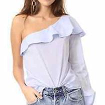 Nwt a.l.c. Brielle Ruffle One-Shoulder Poplin Cotton Top Shirt Light Blue 4 S Photo