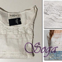 Nwt Abercrombie a&f Women Christa Sheer Lace & Ruffle Top Tee Crop Fit Size L/g Photo
