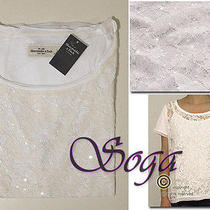 Nwt Abercrombie a&f Womens Abby Front Sequin Shine Lace Top Tee Easy Fit Size L Photo