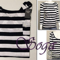 Nwt Abercrombie a&f Womens Elicia Tee Scoop Back Classic Striped 3/4 Sleeve Top Photo