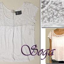 Nwt Abercrombie a&f Womens Macey Shine Top Lace Shine Yoke Shirt Easy Fit Size M Photo