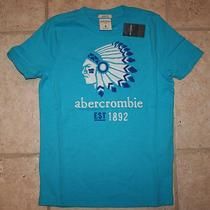 Nwt Abercrombie Boys Small Size 7/8 Aqua Blue Indian Head Logo Muscle T-Shirt Photo
