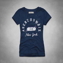 Nwt Abercrombie & Fitch a & F Shine Logo Tee T Shirt Top Navy Blue L Large Photo