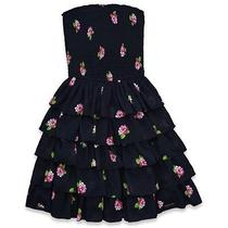 Nwt Abercrombie & Fitch Elissa Navy Floral Dress--Medium Photo
