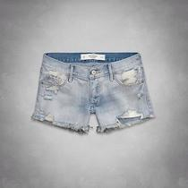 Nwt Abercrombie & Fitch High Rise Mid Length Destroyed Light Wash Jean Shorts-00 Photo