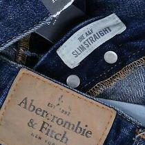 Nwt Abercrombie & Fitch Vintage the a&f Slim Straight 31 X 32 Dark Blue Jeans Photo